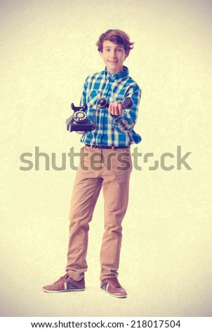 teenager showing a telephone - stock photo