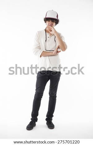 Teenager Standing and Yawning - stock photo