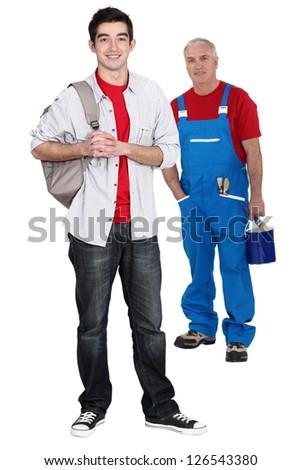 Teenager starting his apprenticeship - stock photo