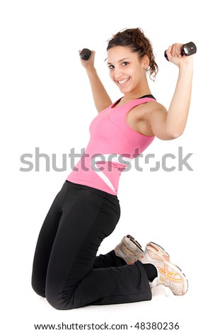 teenager stretching exercise and lifting dumbbells isolated on white
