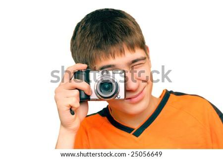 teenager take a photograph - stock photo