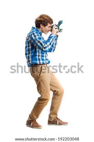 teenager take a picture - stock photo