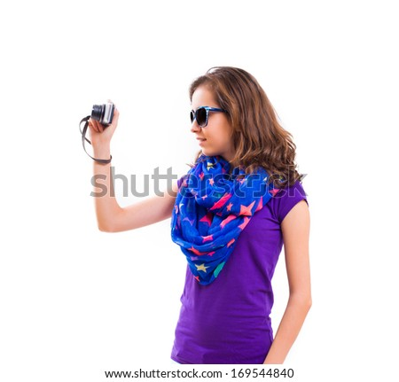 Teenager Tourist in Travel isolated on White Background - stock photo