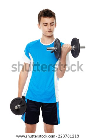 Teenager training with weights isolated on white background - stock photo