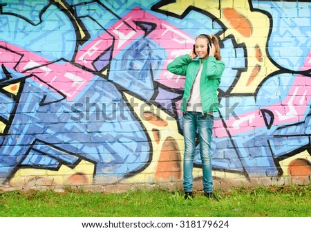 Teenager walking - stock photo