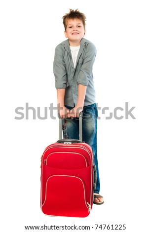 teenager with a suitcase. Isolation on the white - stock photo