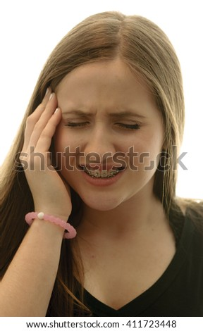 Teenager with anxious expression - stock photo