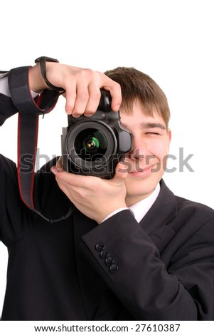 teenager with camera - stock photo