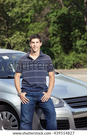 Teenager with car