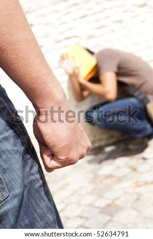 Teenager with fear at his school (selective focus) - stock photo