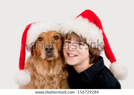 Teenager With Golden Retriever - stock photo
