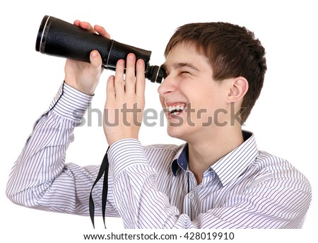 Teenager with Monocle Isolated on the White Background - stock photo