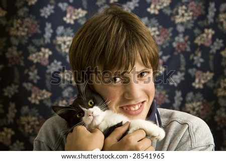 teenager with pet - stock photo