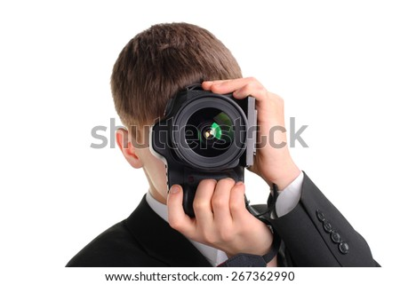 Teenager with Photo Camera Isolated on the White Background - stock photo