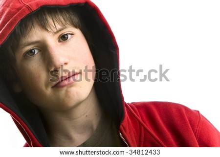 teenager with red swecher