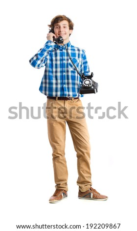 teenager with telephone