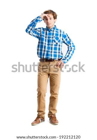 teenager worried gesture - stock photo