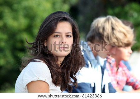 Teenagers after school - stock photo