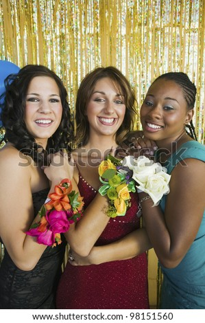 Teenagers at Dance Showing Corsages - stock photo