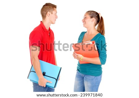 teenagers at school isolated in white - stock photo