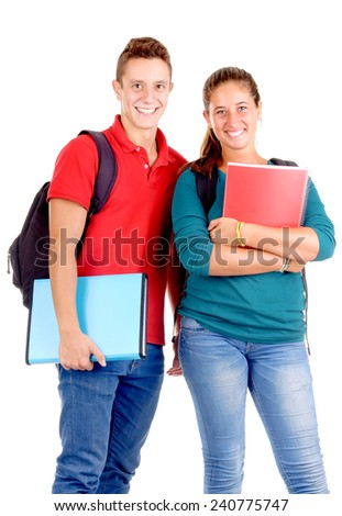 teenagers at school isolated in white