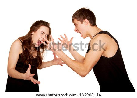 Teenagers boy and girl quarreling, gesticulating and shouting at each other. Isolated on white background - stock photo