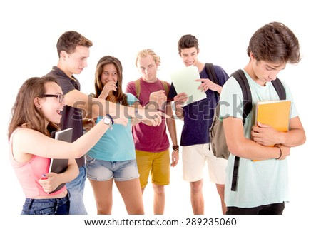 teenagers bullying another isolated in white - stock photo