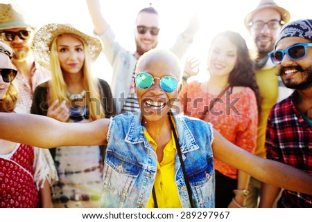 Teenagers Friends Beach Party Happiness Concept