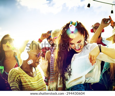Teenagers Friends Beach Party Happiness Concept - stock photo