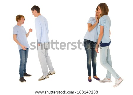 teenagers gossiping - stock photo