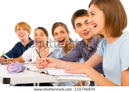teenagers in classroom - stock photo