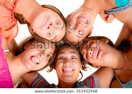 teenagers isolated in white background
