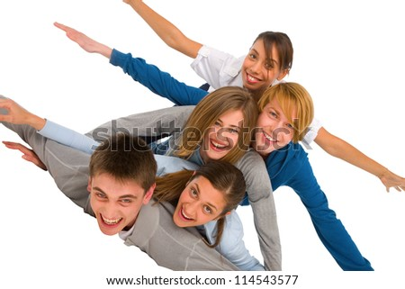 teenagers laying in pile