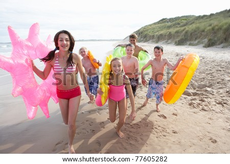 Teenagers on beach