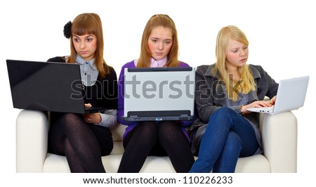 Teenagers on the internet isolated on white background