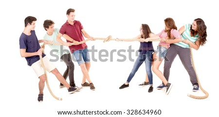teenagers playing the rope game isolated in white