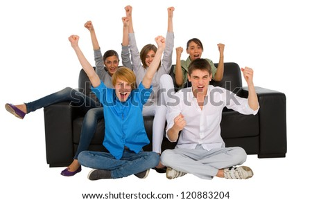 teenagers rejoicing - stock photo