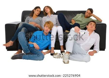 teenagers sleeping on sofa - stock photo
