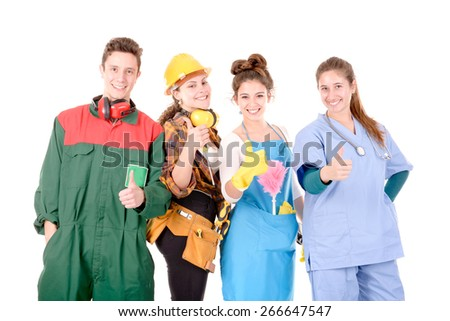 teenagers with future jobs isolated in white