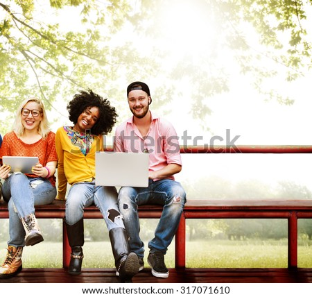Teenagers Young Team Together Cheerful Concept - stock photo