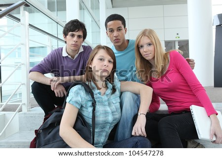 teens at school - stock photo
