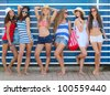 teens girls in beach wear at summer vacation or spring break - stock photo