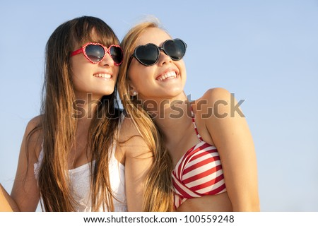 teens on summer vacation or spring break - stock photo