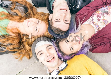 teens portrait. Group of teenagers smiling happily together - stock photo