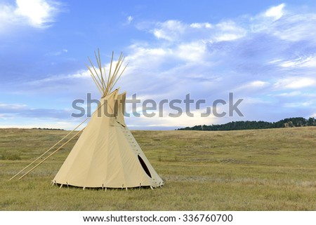 Teepee (tipi) as used by Native Americans in the Great Plains and American west - stock photo