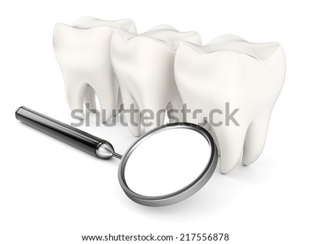 Teeth and dental mirror isolated on white background. 3d rendering image - stock photo