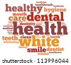 Teeth and dentist info-text graphics and arrangement concept on white background (word cloud) - stock vector