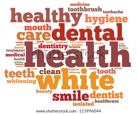 Teeth and dentist info-text graphics and arrangement concept on white background (word cloud) - stock photo