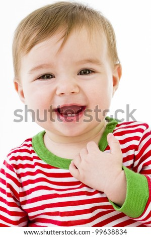 Teeth are growing with a positive smile. Getting Ready to sleep in pajamas. - stock photo