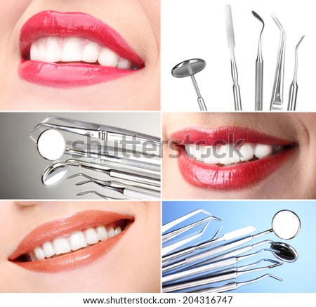 Teeth care concept. Healthy teeth and dental tools.